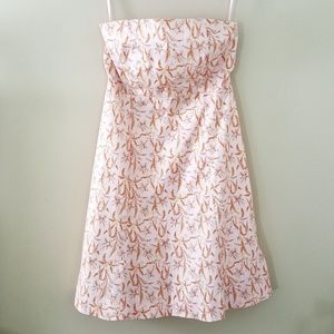 Gap // Peach Floral Strapless Cotton Stretch Midi
